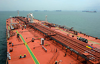 The deck of an oil tanker birthed off Singapore waters.