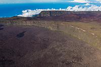 France, île de la Réunion, Parc national de La Réunion, classé Patrimoine Mondial de l'UNESCO, volcan du Piton de la Fournaise, l'Enclos Fouqué au pied du Pas de Bellecombe (vue aérienne) // France, Reunion island (French overseas department), Parc National de La Reunion (Reunion National Park), listed as World Heritage by UNESCO, Piton de la Fournaise volcano, the Enclos and Formica Leo at the foot of the Pas de Bellecombe (aerial view)