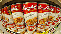Cans of Campbell's Tomato Soup are seen in a supermarket in New York on Friday, May 25, 2012. The Campbell Soup Co. recently announced that its net income has dropped 5 percent in the last quarter despite increased marketing by the company.. (© Richard B. Levine)
