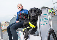 Picture by Allan McKenzie/SWpix.com - 24/09/2017 - Cycling - HSBC UK City Ride Liverpool - Albert Dock, Liverpool, England - Lora Fachie and guide dog ont he rickshaw.