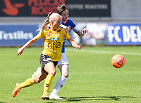 20190807 - DENDERLEEUW, BELGIUM : LSK's Emilie Woldvik (left) pictured in a fight for the ball with Linfield's Kirsty McGuinness (right) during the female soccer game between the Norwegian LSK Kvinner Fotballklubb Ladies and the Northern Irish Linfield ladies FC , the first game for both teams in the Uefa Womens Champions League Qualifying round in group 8 , Wednesday 7 th August 2019 at the Van Roy Stadium in Denderleeuw  , Belgium  .  PHOTO SPORTPIX.BE for NTB  | DAVID CATRY