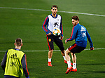 Spanish Sergi Gomez and Sergio Ramos during the training of the spanish national football team in the city of football of Las Rozas in Madrid, Spain. March 18, 2019. (ALTERPHOTOS/Manu R.B.)