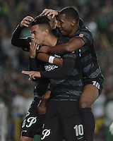 BOGOTÁ -COLOMBIA, 01-09-2014. Edwin Cardona (Izq) jugador de Atlético Nacional celebra un gol en contra de La Equidad durante partido por la fecha 7 de la Liga Postobón II 2014 jugado en el estadio Nemesio Camacho El Campin de la ciudad de Bogotá./ Edwin Cardona (L) of Atletico Nacional celebrates a goal  against  La Equidad during match for the 7th date of the Postobon League II 2014 played atNemesio Camacho El Campin stadium in Bogotá city. Photo: VizzorImage/ Gabriel Aponte / Staff