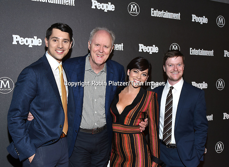 Nick D'Agosto, John Lithgow, Krista Rodriguez and of &quot;Trial &amp; Error&quot; attends the Entertainment Weekly &amp; PEOPLE Magazine New York Upfronts Celebration on May 16, 2016 at Cedar Lake in New York, New York, USA.<br /> <br /> photo by Robin Platzer/Twin Images<br />  <br /> phone number 212-935-0770