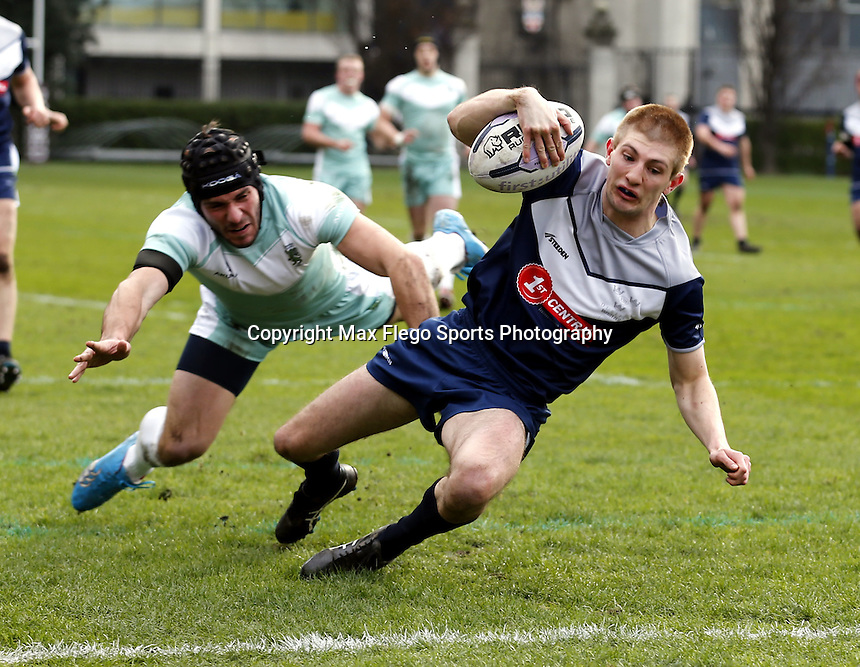 Matt Brady goes over for a try for Oxford during the Pcubed Rugby League Varsity game between Oxford and Cambridge University at the HAC Ground, London, on Fri March 3, 2017
