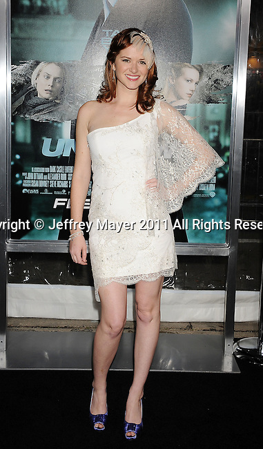 """WESTWOOD, CA - FEBRUARY 16: Sarah Drew arrives at the """"Unknown"""" Los Angeles Premiere at Mann Village Theatre on February 16, 2011 in Westwood, California."""
