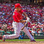 28 September 2014: Washington Nationals outfielder Scott Hairston connects for a single in the 6th inning against the Miami Marlins at Nationals Park in Washington, DC. The Nationals shut out the Marlins 1-0, caping the season with the first Nationals no-hitter in modern times. The win also notched a 96 win season for the Nats: the best record in the National League. Mandatory Credit: Ed Wolfstein Photo *** RAW (NEF) Image File Available ***