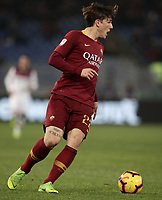 Football, Serie A: AS Roma - Bologna FC, Olympic stadium, Rome, February 18, 2019. <br /> Roma's Nicol&ograve; Zaniolo in action during the Italian Serie A football match between AS Roma and Bologna FC at Olympic stadium in Rome, on February 18, 2019.<br /> UPDATE IMAGES PRESS/Isabella Bonotto
