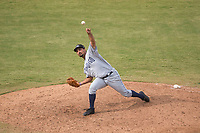 Peoria Javelinas relief pitcher Travis Radke (80), of the San Diego Padres organization, delivers a pitch during an Arizona Fall League game against the Mesa Solar Sox at Sloan Park on October 11, 2018 in Mesa, Arizona. Mesa defeated Peoria 10-9. (Zachary Lucy/Four Seam Images)