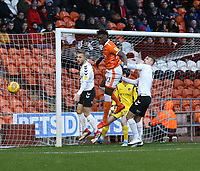 Blackpool's Armand Gnanduillet is denied a goalscoring chance by Charlton Athletic's Chris Solly and Patrick Bauer<br /> <br /> Photographer Stephen White/CameraSport<br /> <br /> The EFL Sky Bet League One - Blackpool v Charlton Athletic - Saturday 8th December 2018 - Bloomfield Road - Blackpool<br /> <br /> World Copyright &copy; 2018 CameraSport. All rights reserved. 43 Linden Ave. Countesthorpe. Leicester. England. LE8 5PG - Tel: +44 (0) 116 277 4147 - admin@camerasport.com - www.camerasport.com