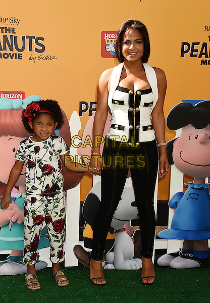 WESTWOOD, CA - NOVEMBER 01: Singer/actress Christina Milian and daughter Violet attend the Premiere of 20th Century Fox's 'The Peanuts Movie' at the Regency Village Theatre on November 1, 2015 in Westwood, California.<br /> CAP/ROT<br /> &copy;Lee Roth/Capital Pictures