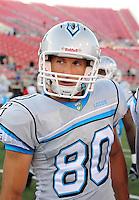 Oct. 8, 2009; Las Vegas, NV, USA; Las Vegas Locomotives wide receiver (80) David Kircus against the California Redwoods during the inaugural United Football League game at Sam Boyd Stadium. Mandatory Credit: Mark J. Rebilas-