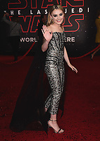 "LOS ANGELES- DECEMBER 9:   Meg Donnelly at the World Premiere of Disney Pictures and Lucasfilm's ""Star Wars: The Last Jedi"" at the Shrine Auditorium on December 9, 2017 in Los Angeles, California. (Photo by Scott Kirkland/PictureGroup)"