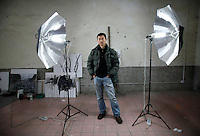 Chinese artist Qiu Anxiong seen here in his studio in Shanghai, China on Tuesday, 13 March 2007.