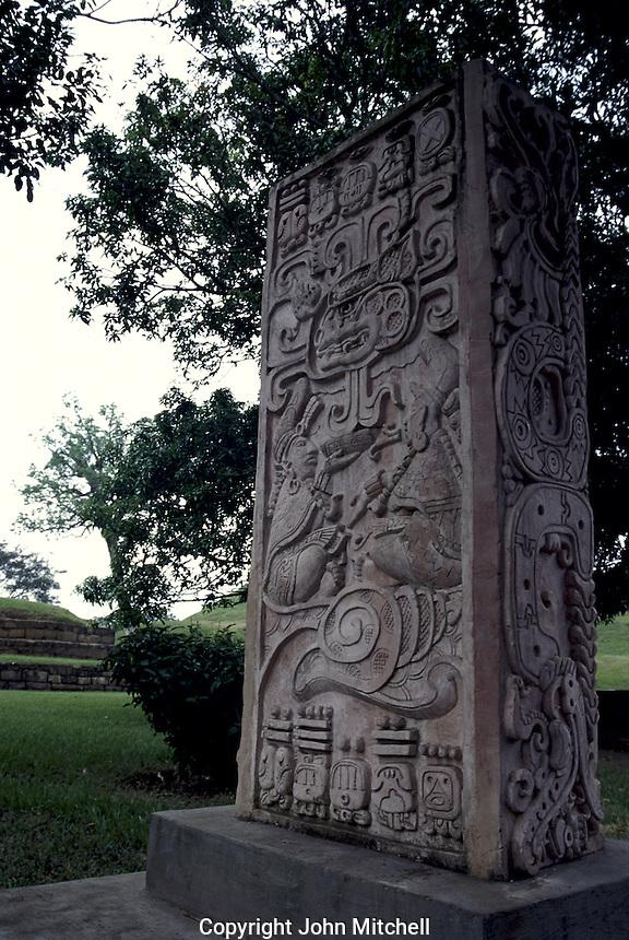 Replica of a Mayan stela at the ruins of San Andres in El Salvador, Central America