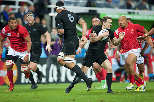 09.10.2015. St James Park, Newcastle, England. Rugby World Cup. New Zealand versus Tonga. New Zealand All Black fullback Ben Smith with the ball.