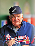 26 September 2010: Atlanta Braves Manager Bobby Cox walks the dugout prior to being honored for his 29-year career in baseball at Nationals Park in Washington, DC. The Nationals defeated the pennant-seeking Braves 4-2 to take the rubber match of their 3-game series. Mandatory Credit: Ed Wolfstein Photo