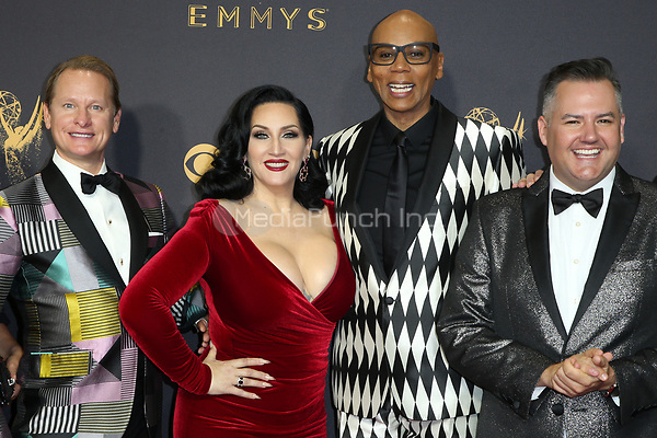 LOS ANGELES, CA - September 17: Carson Kressley, Michelle Visage, RuPaul and Ross Mathews at The 69th Emmy Awards At The Microsoft Theater In California on September 17, 2017. Credit: FayeS/MediaPunch