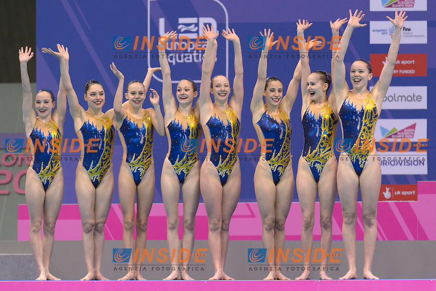 Team UKRAINE UKR Silver Medal <br /> ANANASOVA Lolita, VOLOSHYNA Anna, IUSHKO Daria, GRECHYKHINA Olena, SAVCHUK Anastasiya, SYDORENKO Kseniya, SABADA Oleksandra, SADURSKA Kateryna<br /> Team Technical Final <br /> London, Queen Elizabeth II Olympic Park Pool <br /> LEN 2016 European Aquatics Elite Championships <br /> Synchronized Swimming <br /> Day 01 09-05-2016<br /> Photo Andrea Staccioli/Deepbluemedia/Insidefoto