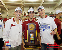 Three Missourians apart of the University of Arkansas Men's Track & Field Program, celebrate with the trophy after the team's National Championship at the 2013 Indoor Track and Field Championships in Fayetteville, Ar. From left to right, Redshirt Senior Eric Fernandez, (Ballwin, Parkway West HS), Student Assistant Coach Rick Elliott, (Springfield, Kickapoo HS), and redshirt freshman Andrew Pisechko (Webb City, Webb City HS).
