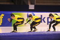 SCHAATSEN: HEERENVEEN: 30-10-2014, IJsstadion Thialf, Topsporttraining, Sven Kramer, Douwe de Vries, Wouter olde Heuvel, ©foto Martin de Jong