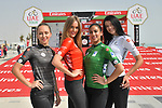 The podium girls wear the leaders jerseys before Stage 1 of the 2019 UAE Tour, a team time trial running 16km around Al Hudayriat Island, Abu Dhabi, United Arab Emirates. 24th February 2019.<br /> Picture: LaPresse/Massimo Paolone | Cyclefile<br /> <br /> <br /> All photos usage must carry mandatory copyright credit (© Cyclefile | LaPresse/Massimo Paolone)