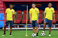 KAZAN - RUSIA, 23-06-2018: Wilmar BARRIOS, James RODRIGUEZ y Carlos BACCA  jugadores de Colombia, durante entrenamiento en Kazan Arena previo al encuentro del Grupo previo al encuentro del grupo H  con Polonia como parte de la Copa Mundo FIFA 2018 Rusia. / Wilmar BARRIOS, James RODRIGUEZ and Carlos BACCA players of Colombia during training session in KazanArena prior the group H match with Poland as part of the 2018 FIFA World Cup Russia. Photo: VizzorImage / Julian Medina / Cont