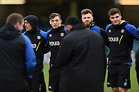 Darren Atkins, Max Wright and Josh Bayliss of Bath Rugby look on in a pre-match huddle. Heineken Champions Cup match, between Bath Rugby and Wasps on January 12, 2019 at the Recreation Ground in Bath, England. Photo by: Patrick Khachfe / Onside Images