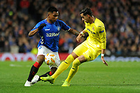 Alfredo Morelos of Rangers battles for the ball with Ramiro Funes Mori of Villarreal CF during Rangers vs Villarreal CF, UEFA Europa League Football at Ibrox Stadium on 29th November 2018