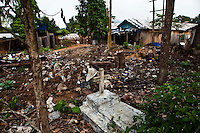 Former cemetery turned out a dump at Garimpo Agua Branca, gold mining village in Para State, Amazon rain forest, Brazil.