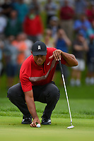 Tiger Woods (USA) lines up his putt on 1 during Rd4 of the 2019 BMW Championship, Medinah Golf Club, Chicago, Illinois, USA. 8/18/2019.<br /> Picture Ken Murray / Golffile.ie<br /> <br /> All photo usage must carry mandatory copyright credit (© Golffile | Ken Murray)
