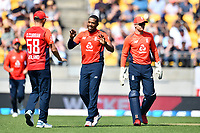 3rd November 2019, Wellington, New Zealand;  England's Chris Jordan celebrates a wicket during the second T20 International game between New Zealand and England, Westpac Stadium, Wellington, Sunday 3rd November 2019.  - Editorial Use
