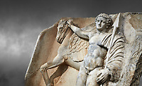 Close up of a Roman Sebasteion relief  sculpture of  Bellerophon Aphrodisias Museum, Aphrodisias, Turkey.    <br /> <br /> Bellerophon was a Lykian hero and was claimed as a founder of Aphrodisias. He holds his winged horse Pegasos. The deign was modelled on another relief panel in the series &ldquo;Royal hero with Dod Hunting&rdquo;. The carving is poor and the sculptor may have been a novice.modelled