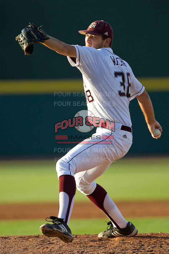 Texas A&M Aggie starting pitcher Michael Wacha delivers during the NCCAA Regional tournament baseball game against the Dayton Flyers on June 1, 2012 at Blue Bell Park in College Stateion, Texas. The Aggies defeated the Flyers 4-1. (Andrew Woolley/Four Seam Images)