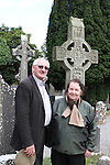 Fr Michael Hickey with the Crosses at Monasterboice