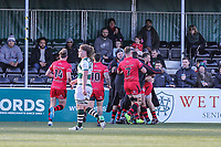 Will HOMER of Jersey Reds celebrates with team mates after he scores the opening try Match action during the Greene King IPA Championship match between Ealing Trailfinders and Jersey Reds at Castle Bar , West Ealing , England  on 22 December 2018. Photo by David Horn.