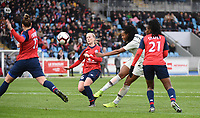 20190113 - LILLE , FRANCE : LOSC's Maud Coutereels (L) and Silke Demeyere (6) and Laetitia Chapeh (21) and PSG's Marie Antoinette Katoto (white) pictured during women soccer game between the women teams of Lille OSC and Paris Saint Germain  during the 16 th matchday for the Championship D1 Feminines at stade Lille Metropole , Sunday 13th of January 2019,  PHOTO Dirk Vuylsteke | Sportpix.Be