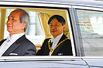 Japan's new Emperor Naruhito looks from his vehicle upon arriving at the Imperial Palace in Tokyo, Japan on May 1, 2019, the first day of the Reiwa Era. (Photo by MATSUO.K/AFLO)