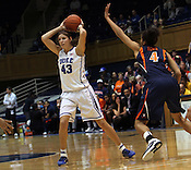 Allison Vernerey looks for an open teammate. Duke woman's basketball beat Virginia 77-66 on Monday, January 2, 2012 at Cameron Indoor Stadium in Durham, NC. Photo by Al Drago.