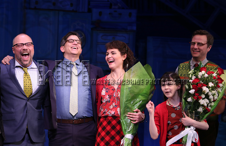 Nathan Tysen, Daniel Messe, Phillipa Soo, Savvy Crawford and Manoel Felciano during the Broadway Opening Night Performance Curtain Call for 'Amelie' at the Walter Kerr Theatre on April 3, 2017 in New York City
