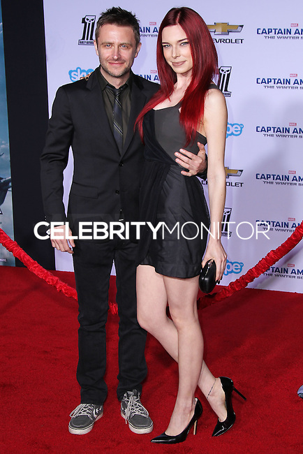 """HOLLYWOOD, LOS ANGELES, CA, USA - MARCH 13: Chris Hardwick, Chloe Dykstra at the World Premiere Of Marvel's """"Captain America: The Winter Soldier"""" held at the El Capitan Theatre on March 13, 2014 in Hollywood, Los Angeles, California, United States. (Photo by Xavier Collin/Celebrity Monitor)"""