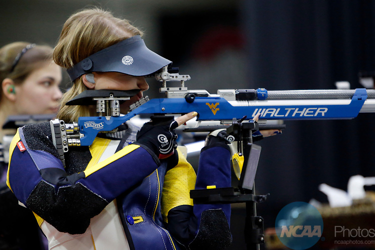COLUMBUS, OH - MARCH 11:  Milica Babic, of West Virginia University, competes during the Division I Rifle Championships held at The French Field House on the Ohio State University campus on March 11, 2017 in Columbus, Ohio. Babic won the individual championship with a score of 208.1. (Photo by Jay LaPrete/NCAA Photos via Getty Images)