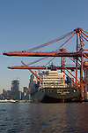 Seattle, container ship, container crane, Asia trade; Seattle skyline; Port of Seattle, Elliott Bay, Puget Sound,.