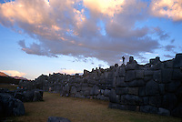 The ruins of the Sacsayhuaman fortess stand on a hill above Cuzco, Peru. The Spanish conquistadores fought a difficult battle with the Incas at the site in the early 1500s.