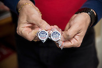 Rockville,MD November 7 2016, USA: Trump Pence pins are a popular item that are being sold in the final day of the Presidential elections, the Montgomery County, MD Republican campaign headquarters, in Rockville, MD. Patsy Lynch/MediaPunch