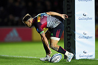 Danny Care of Harlequins scores a try in the first half. Gallagher Premiership match, between Harlequins and Saracens on October 6, 2018 at the Twickenham Stoop in London, England. Photo by: Patrick Khachfe / JMP