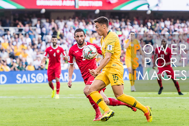 Chris Ikonomidis of Australia in action during the AFC Asian Cup UAE 2019 Group B match between Australia (AUS) and Jordan (JOR) at Hazza Bin Zayed Stadium on 06 January 2019 in Al Ain, United Arab Emirates. Photo by Marcio Rodrigo Machado / Power Sport Images