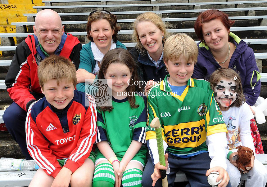 07-07-12: Front from left are Tadhg Reen, Saoirse Moloney, Danny Walsh and Hasia Tobin Walsh with back from left, Dermot Reen, Mary McElligott, Carmel Moloney and Gillian Tobin, Na Gaeil Tralee, at the Centra Brighten up Your Day Community Event at Fitzgerald Stadium, Killarney,  on Saturday .The free family event featured two of Centra's GAA Hurling Ambassadors Padraic Maher (Tipperary) and Niall Gilligan (Clare), who both hosted a hurling skills session for children.  In addition, there was some cracking family fun, including face painting, a hurling skills simulator and a delicious BBQ by local Centra retailers, Fitzgerald's Centra (Dingle), Moriarty's Centra (Farranfore), Bowler's Centra (Killarney), Whyte's Centra (Kenmare), Hickey's Centra (Rathmore).   Picture: Eamonn Keogh (MacMonagle, Killarney).