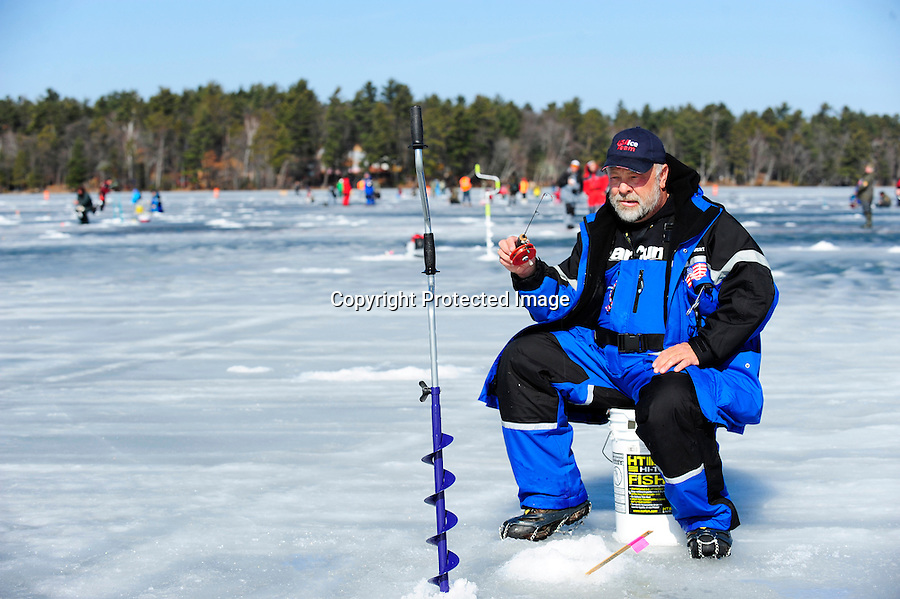 Competitors and winners at the World Ice Fishing Championship held in Rhinelander, WI.