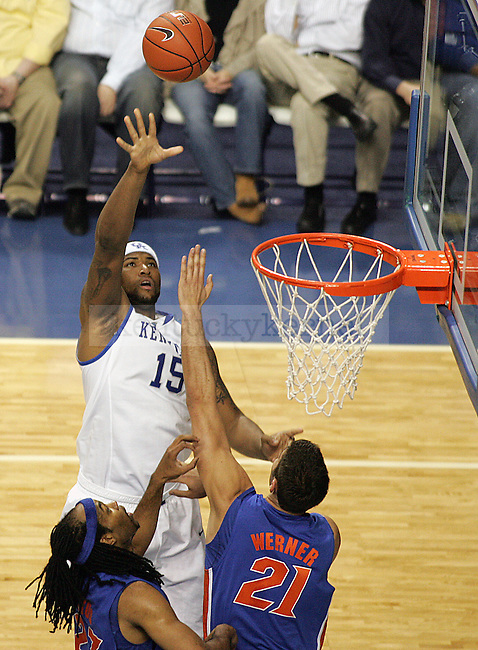 Freshman forward DeMarcus Cousins takes a shot in the first half of UK's win over Florida at Rupp Arena on Sunday, March 7, 2010. Photo by Britney McIntosh | Staff
